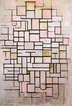Piet Mondrian, Composition No.6. / Compositie nr.6 1914. Gemeentemuseum, The Hague, Oil on canvas, 61x88cm