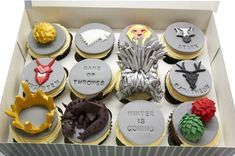 Game of thrones, Game of thrones cupcakes, Game of thrones toppers, Game of thrones, fondant crown, fondant dragon, fondant dragon egg