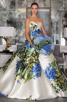 How amazing is this strapless blue Tuscan garden silk mikado ball! Romona Keveza Luxe Collection, Fall 2016