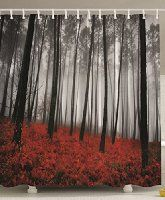 Fabric Shower Curtain Mystic Forest Red Grass Black and Gray Modern Art Flower Rainy Foggy Gray Scene Print