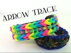 NEW Arrow Track Rainbow Loom bracelet Loom Bands Designs, Loom Band Patterns, Loom Bracelet Patterns, Rainbow Loom Tutorials, Rainbow Loom Patterns, Rainbow Loom Creations, Crazy Loom Bracelets, Rainbow Loom Bracelets, Loom Love