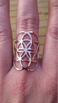 seed of life ring in rose gold -10k - sacred geometry - rose gold ring