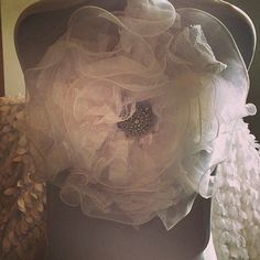 Winter Linens, White Chair Fabric Flower