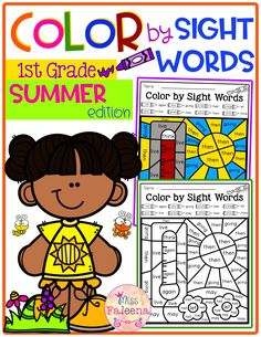There are 20 pages of color by sight words worksheets in Spring Color by Code-Sight Words First Grade. These pages are fun and effective way to reinforce all of the first grade Dolch Sight Words with safari, pirate, ocean and summer theme. Pre- K | Kindergarten | Kindergarten Worksheets | First Grade | First Grade Worksheets | Coloring Pages | Color by Code | Color by Sight Words | Homework | Morning Work | Worksheets | Summer Color by Code First Grade Sight Word Worksheets, First Grade Worksheets, Dolch Sight Words, Kindergarten Worksheets, Summer School Activities, Sight Word Coloring, Morning Work, Color Activities, Elementary Education