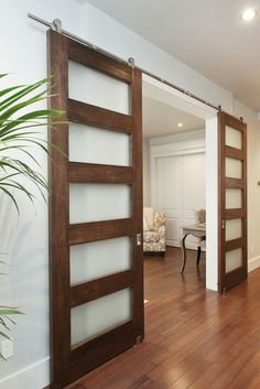 Space saving, attractive, Barn Doors with frosted glass inserts. Designed by Env… Space saving, attractive, Barn Doors with frosted glass … Sliding Door Room Dividers, Sliding Door Design, Room Divider Doors, Interior Sliding Barn Doors, Diy Sliding Barn Door, Diy Barn Door, Sliding Glass Door, Diy Door, Closet Doors