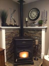Image result for wood stove corner hearth