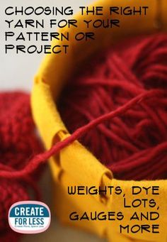 Basics :: General descriptions & tips for choosing yarn. Link is also given on page to the Craft Yarn Council standard yarn weight chart.