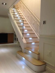 Modern Staircase Design Ideas - Modern stairs are available in many design and styles that can be actual eye-catcher in the various area. We've put together best 10 modern versions of staircases that can give. Basement Staircase, House Staircase, Curved Staircase, Stair Railing, Stairs With Glass Balustrade, Metal Stairs, Staircase Makeover, Staircases, Glass Stairs Design