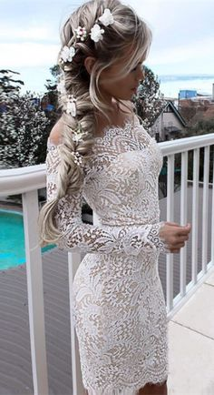 Tight Homecoming Dresses,Off-the-Shoulder Dresses,Long Sleeves Dresses,White Lace Homecoming Dresses,Cocktail Dresses,Homecoming Dresses 2017