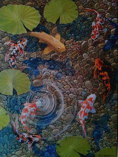"Gene Gregorio, Koi Pond 40""x 30"" oil on canvas SOLD"