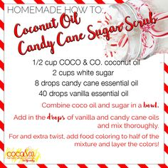 We 😍 #candycanes!!! Try this festive #HomeMadeHowTo to smell like the holidays! ❤️🎄 More on our Pinterest page #CoconutOilLovers #CoconutOil  / Coconut and Company coconut oil for beauty. Organic, fresh, and pure for glowing hair and skin!