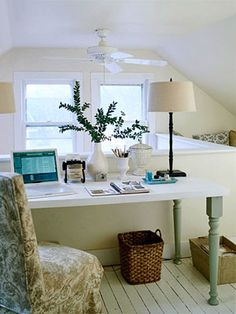 Ideas for a Home Office Desk made out of a flat door and stock table legs from a home improvement store.Desk made out of a flat door and stock table legs from a home improvement store. Attic Office, Home Office Space, Home Office Desks, Office Decor, Office Ideas, Office Nook, Desk Space, Office Storage, Office Table
