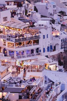 Fira by night, Santorini, Greece