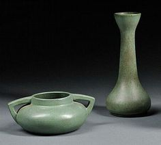 Zark Pottery - Two-Handled Low Vase & Vase.