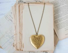 Large Gold HEART Locket Pendant Vintage Style by redtruckdesigns, Want this so I could put pics of my grandpa's in it