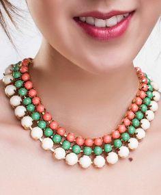 Coral, Green & Ivory Stone Necklace, $32 via boutiika.com