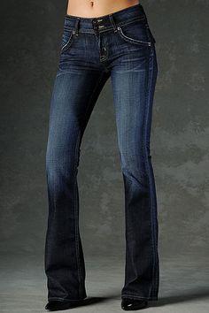 dark fitted denim bootcut jeans