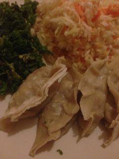 Dumplings, sautéed kale and lemon dressed coleslaw Sauteed Kale, Seitan, Coleslaw, Dumplings, Vegan Recipes, Food, Hands, Coleslaw Salad, Essen