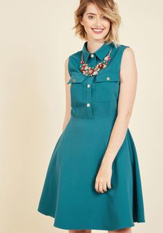 <p>Do up this teal shirt dress any way you please - it's ModCloth-exclusive design was made to inspire your ensemble imagination! A perfect piece for laying or flaunting on its own with its gold buttons, bodice pockets, and swingy skirt, this A-line staple will encourage an endless assortment of fave looks.</p>