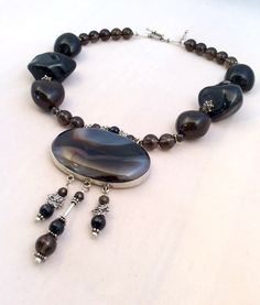 Spectacular Agate Pendant Necklace Huge Topaz by LotusLakeBuddhist, $289.00