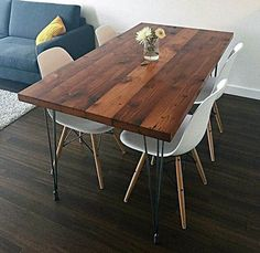 Reclaimed Wood Dining Table with Hairpin Legs Handmade in Portland, OR Diy Wood Bench, Reclaimed Wood Dining Table, Dining Table Chairs, Wood Table, Patio Tables, Room Chairs, Rustic Wood, Gold Desk Chair, Küchen Design