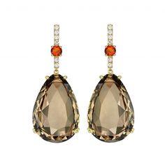 Candy Smoky Quartz and Fire Opal Earrings