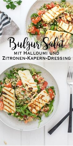 salad with halloumi and lemon caper dressing - salad . Bulgur salad with halloumi and lemon caper dressing - salad .,Bulgur salad with halloumi and lemon caper dressing - salad . Salad Recipes Healthy Lunch, Salad Recipes For Dinner, Chicken Salad Recipes, Easy Healthy Recipes, Vegetarian Recipes, Salads For A Crowd, Easy Salads, Lemon Dressing Recipes, Le Diner
