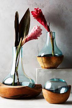 Vasos em madeira e vidro #anthropologie