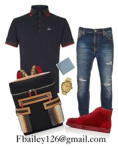 A menswear look from August 2016 featuring mens french cuff shirts, mens blue jeans and christian louboutin mens shoes. Browse and shop related looks. Teen Boy Fashion, Tomboy Fashion, Mens Fashion, Fashion Outfits, Fashion Menswear, Fashion Wear, Dope Outfits For Guys, Swag Outfits Men, Casual Outfits