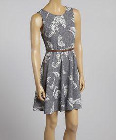Look at this #zulilyfind! Gray Leaf Belted Sleeveless Dress by Bellino #zulilyfinds