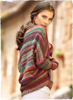 Crayon Stripe Pima Cotton Shrug  Kaffe Fassett's whimsical art knit