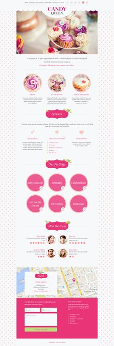 Candy Queen - Responsive Multi-Purpose OnePage WordPress Theme: Whether you're looking for a Wordpress theme for your candy boutique, florist design studio, beauty salon, this beautiful and clean responsive multi-purpose onepage design is suitable for anyone who want's to showcase their #portfolio in a unique, #feminine and playful way. We have 3 color schemes prepared, but you can easily modify colors for your needs.