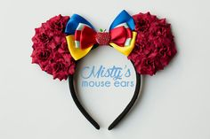 Inspired Snow White Rose Mouse Ears by MistysMouseEars on Etsy