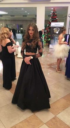 Two Piece A-line Floor-Length Lace Long Sleeves Black
