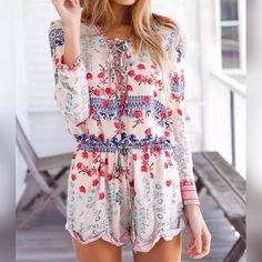 "5⭐️BUYER RATED⭐️ FLORAL LONG-SLEEVE ROMPER This just came in and is so cute! Rated 5⭐️Floral print, drawstring, long-sleeve or 3/4 with button, lace up front, romper. 87% cotton 13% acetate. Medium; Bust: 35.5-37.5, Waist: 28-30, Hips: 36-38. 33"" shoulder to cuffed hem length. Price is firm unless bundled. No trades and a smoke free home. Small companies g soon! Thank you for stopping by @treasuresbytrac   Pants Jumpsuits & Rompers"