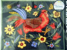 New Roosters on Black Crewel Embroidery Kit Susan Winget Dimensions Wool Yarn #Dimensions #Kit