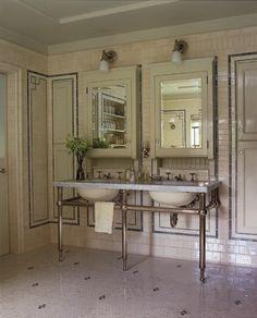 Like Vintage?: Los Angeles home of Christine Taylor and Ben Stiller interior design by Roman and Williams Vintage Bathroom Sinks, Bathroom Sconces, Classic Bathroom, Attic Bathroom, Christine Taylor, Roman And Williams, Ben Stiller, Tile Trim, Bathroom Inspiration