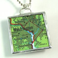 Washington DC Map Pendant by XOHandworks.com $20