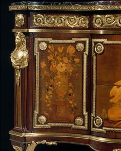 Detail of Commode with Pastoral Marquetry attributed to Jean-Henri Riesener circa 1775 French Furniture, Wooden Furniture, Antique Furniture, Furniture Design, Rococo, Baroque, Classic Architecture, Marquetry, Art Decor