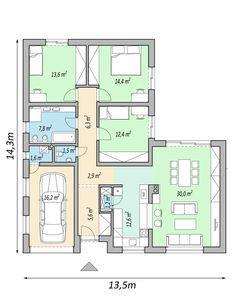 projekt rodinneho domu LINK, varianta pokoj místo garaze