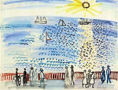 Promeneurs au bord de la mer au Havre - Raoul Dufy - 1926 - watercolor on paper