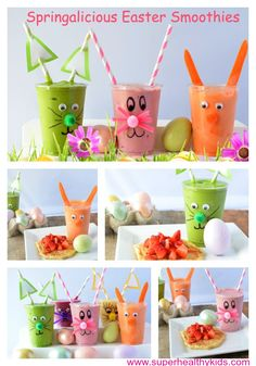 For a fun and still healthy Easter morning tradition- make some colorful Springalicious smoothies #easter #healthybreakfast