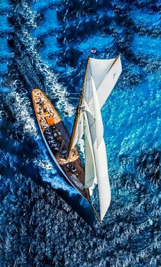 view from above of a classic beautiful sailingboat
