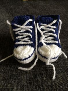 Handmade Crocheted Sparkling Dark Blue  Converse  Style Baby Booties
