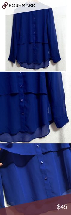 Banana Republic Button down double layer blouse 🔹 Beautiful Blue buttoned down blouse, double layer🔹 100% Polyester🔹Machine Wash Cold🔹 Sheer🔹No trades or pp🔹 NWOT, Never worn, never washed. 🔹 No tag Banana Republic Tops Blouses