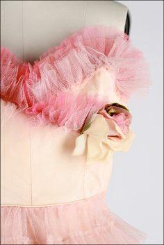 Vintage 1950s Dress . Ombre Pink Tulle . Full Skirt