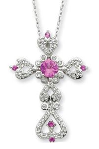 Perfect Love Sterling Silver Cross Pendant with Pink Sapphire - In this is love not that we loved God but that He loves us. 1 John 410