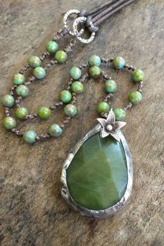 Soldered Jade Boho Necklace, Knotted Beaded Bohemian Jewelry, Thai Silver Flower, Long Necklace by Two Silver Sisters twosilversisters