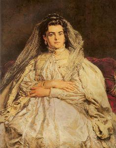 Portrait of Artist's Wife in a Wedding Dress - Jan Matejko