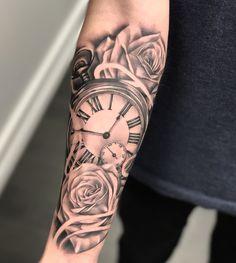 tattoos for men, wrist rose tattoo, wrist tattoo models, wrist covering tattoo - Tattoo-Designs - Tatouages Forarm Tattoos, Forearm Sleeve Tattoos, Tattoo Sleeve Designs, Tattoo Designs Men, Clock Tattoos, Tattoo Arm, Clock Tattoo Sleeve, Clock Tattoo Design, Forearm Tattoos For Guys
